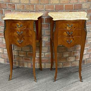 Pair of French Inlaid Marble Topped Bedside Drawers