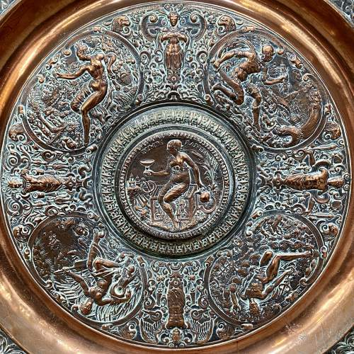 Large French Temperantia Copper Charger image-2