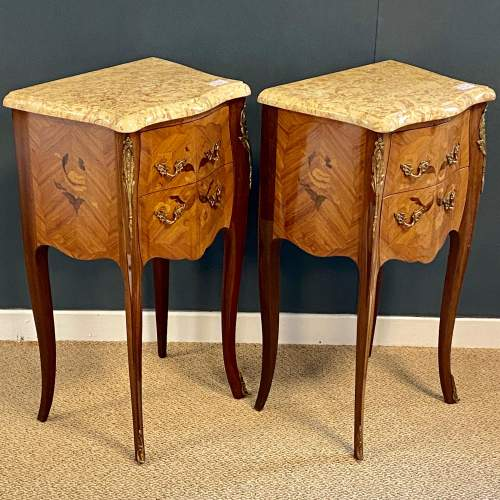 20th Century Pair Of French Inlaid Bedside Cabinets with Marble Tops image-1