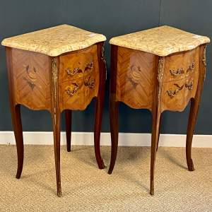 20th Century Pair Of French Inlaid Bedside Cabinets with Marble Tops