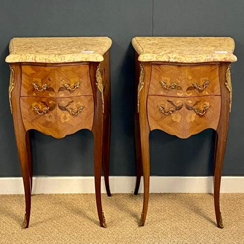 20th Century Pair Of French Inlaid Bedside Cabinets with Marble Tops image-2