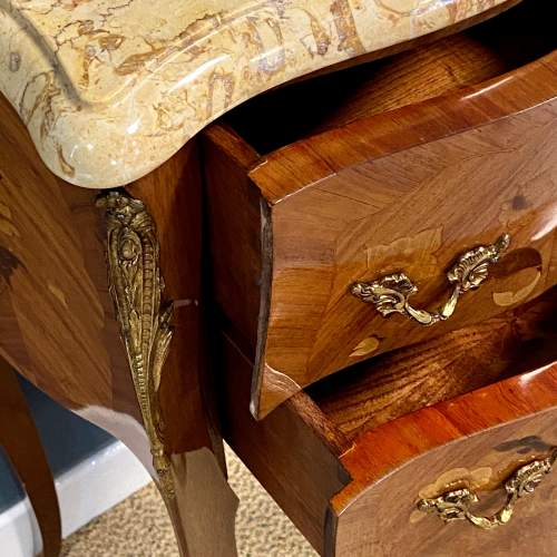 20th Century Pair Of French Inlaid Bedside Cabinets with Marble Tops image-4