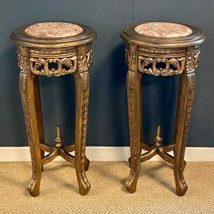 Pair of Giltwood Stands with Pink Marble Inset Tops