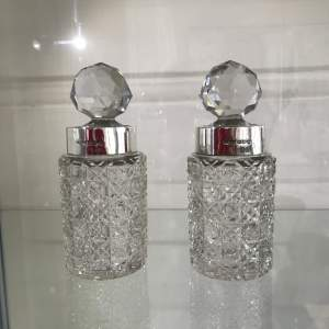 Pair of Crystal Cut Glass Decanters