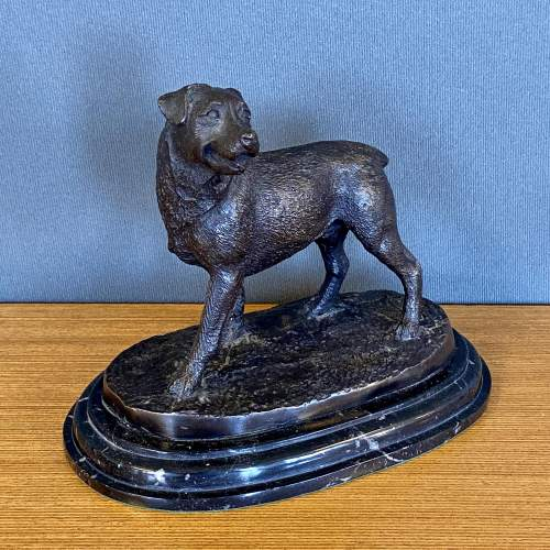 Bronze Figure of a Dog on a Marble Base image-1
