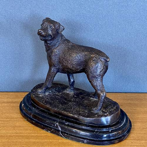 Bronze Figure of a Dog on a Marble Base image-2