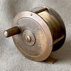 Late 19th Century Rare Bronze Tapered Edge Fly Reel