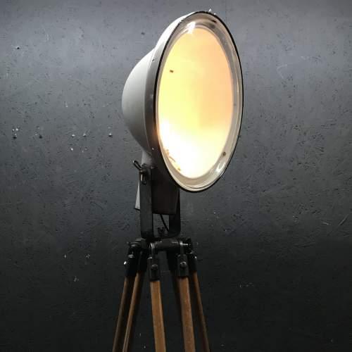 Large Enamel Spotlight by Phillips Mounted on a Vintage Tripod image-1