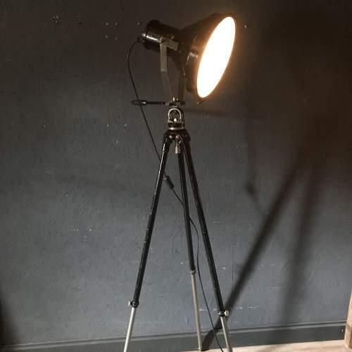 Large Vintage Spotlight Mounted on a Lovely Vintage Tripod image-1