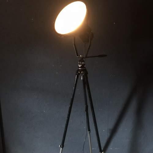 Large Vintage Spotlight Mounted on a Lovely Vintage Tripod image-2