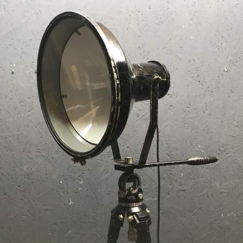 Large Vintage Spotlight Mounted on a Lovely Vintage Tripod image-4