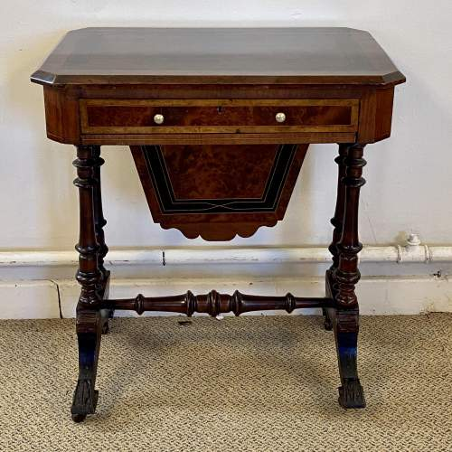 Late Victorian Inlaid Work or Sewing Table image-2