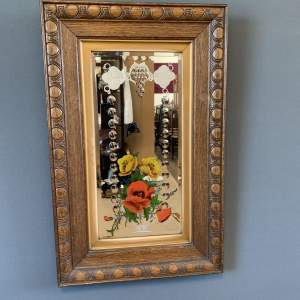 Victorian Hand Painted Gypsy Mirror in Oak Frame
