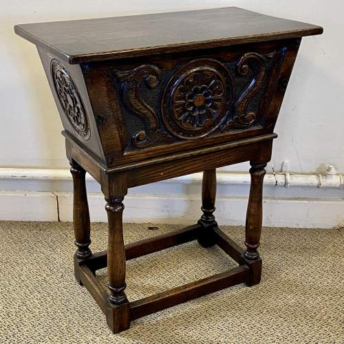 20th Century Carved Oak Storage Box on Stand image-1