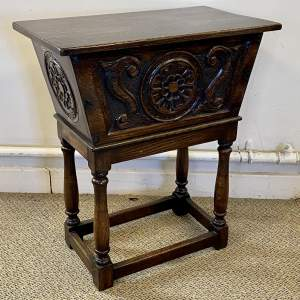 20th Century Carved Oak Storage Box on Stand