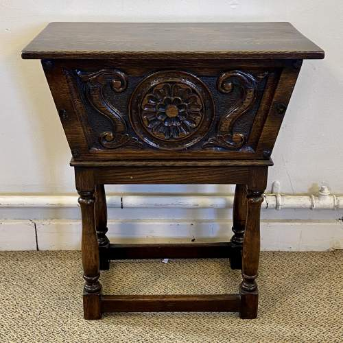 20th Century Carved Oak Storage Box on Stand image-2