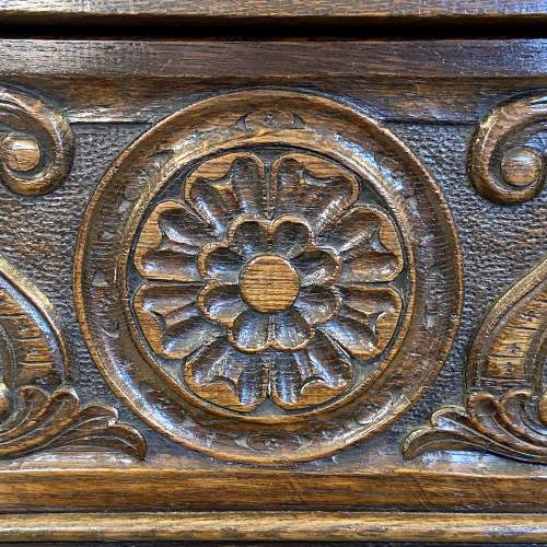 20th Century Carved Oak Storage Box on Stand image-3