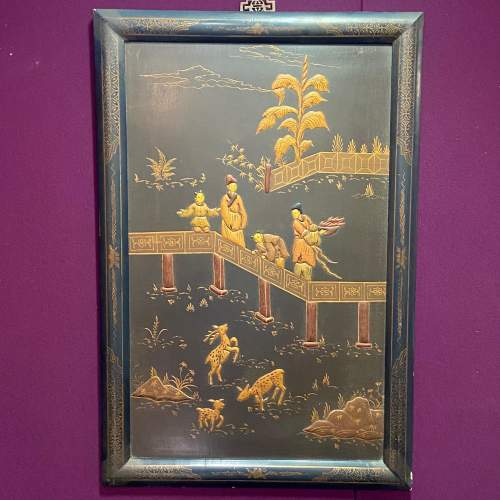 Japanese Embossed Lacquered Framed Wall Panel image-1