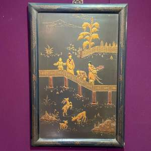 Japanese Embossed Lacquered Framed Wall Panel