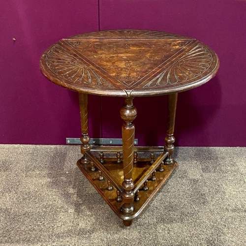 Early 20th Century Oak Triangular Two Tier Occasional Table image-1
