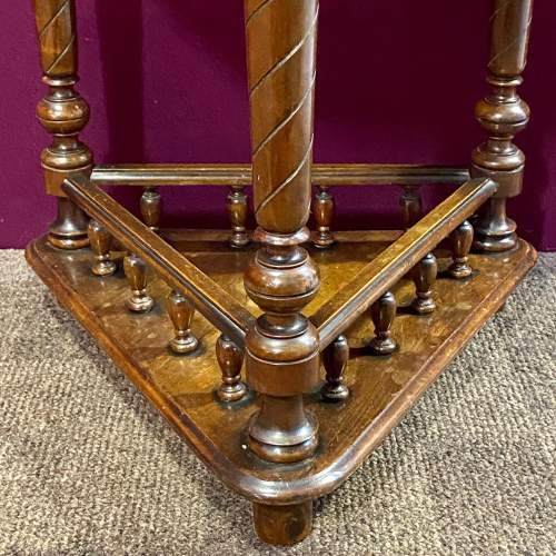 Early 20th Century Oak Triangular Two Tier Occasional Table image-4