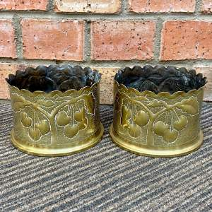Pair of Early 20th Century Trench Art Cherry Vases