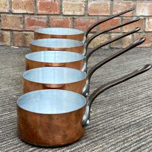 Vintage Set of Five French Copper Saucepans