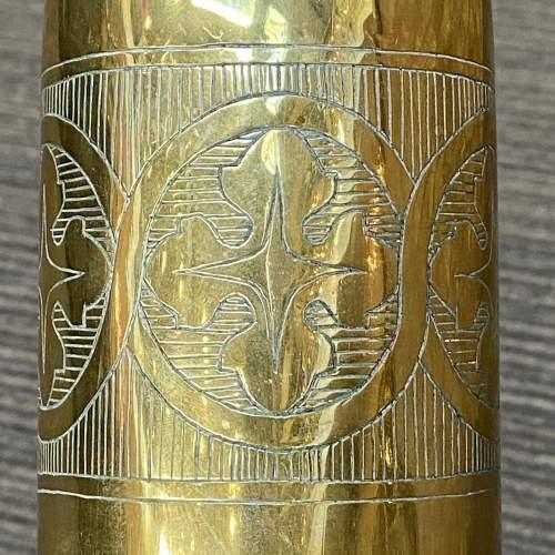 20th Century Pair of Brass Trench Art Vases image-3