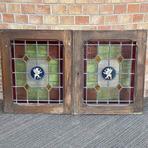 Vintage French Pair of Stained Glass Windows