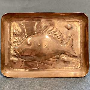 20th Century Newlyn Copper Pin Tray of a Fish