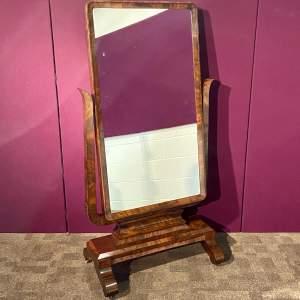 19th Century Figured Mahogany Cheval Mirror