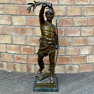 Patinated Bronze entitled Vainqueur by Eugene Marioton