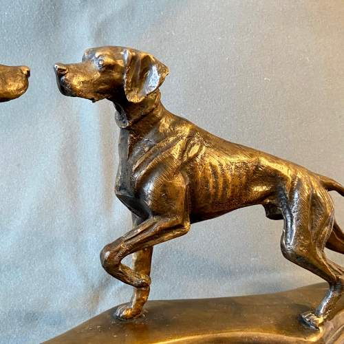 Pair of Bronze Hunting Dogs On Marble Base image-2