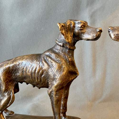 Pair of Bronze Hunting Dogs On Marble Base image-3