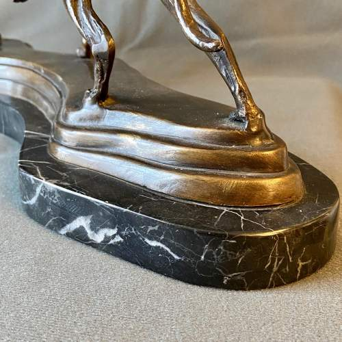 Pair of Bronze Hunting Dogs On Marble Base image-4