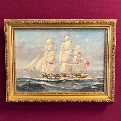 20th Century Frigate on Patrol Oil on Board by Colin Verity image-1