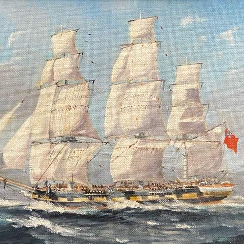 20th Century Frigate on Patrol Oil on Board by Colin Verity image-2