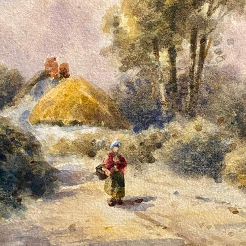 19th Century Dorset Village Watercolour by Tom Dudley image-2