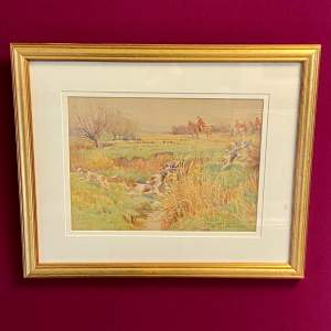 20th Century Hunting Scene Watercolour by John Sanderson Wells