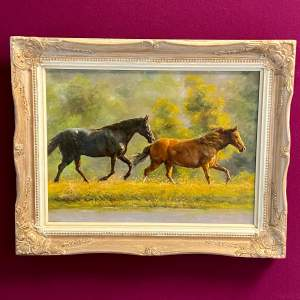 20th Century Horses by a Stream Oil on Board