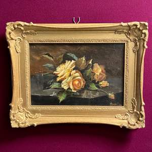 20th Century Roses Oil on Canvas by A Rhind