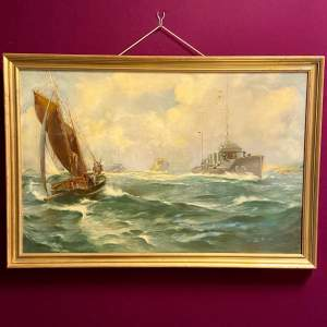 20th Century Fishermen Waving to Passing Destroyers Oil on Board