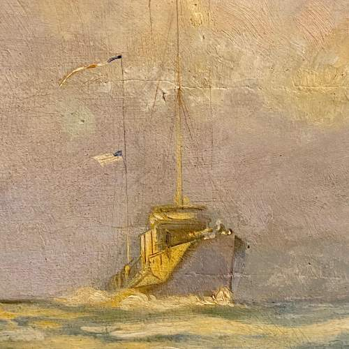 20th Century Fishermen Waving to Passing Destroyers Oil on Board image-4