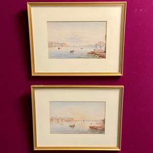 20th Century Pair of Harbour Scenes Watercolours