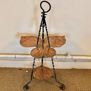 Arts and Crafts Copper and Wrought Iron Display Stand