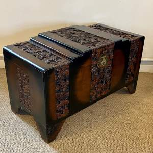 20th Century Oriental Carved Camphorwood Chest