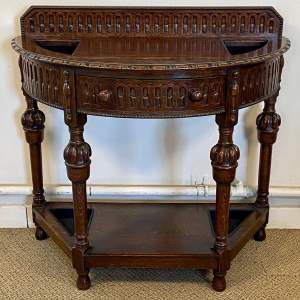20th Century Oak Hall Table with Stick Stand