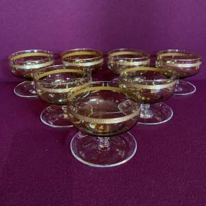 Set of Seven Gilded Glass Dessert Dishes by Moser