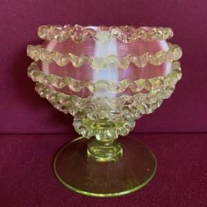 Victorian Uranium Candy Stripe Cranberry Glass Bowl