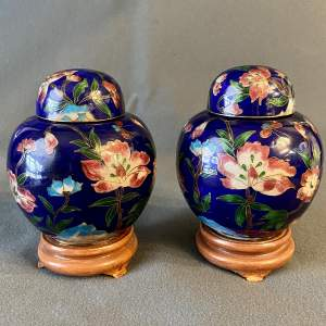 Pair of Cloisonné Ginger Jars